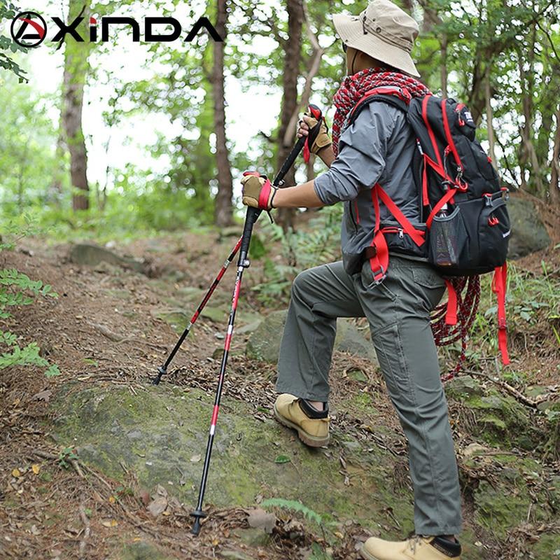 XINDA Walking Stick Hiking Running Nordic Walking Pole Folding Trekking Poles Carbon Fiber Ultralight Quick Lock недорого