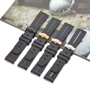 20mm Curved End Rubber Band Sport Waterproof Replacement Bracelet Watch Accessories For Diving series Watches Replace