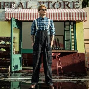 RETRODANDY Mens Overall Pants Navy Deck Hook Overalls Pants Men Fashion Vintage Strap Loose Cargo Work Trousers Urban