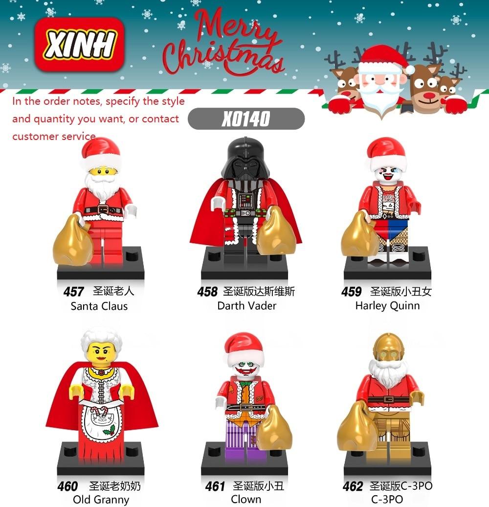 6pcs/pcs UM Conjunto de Figuras De Natal Papai Noel Grinch DeadpoolBuilding 8 Blocos Tijolos Brinquedos Para as crianças brinquedos educativos