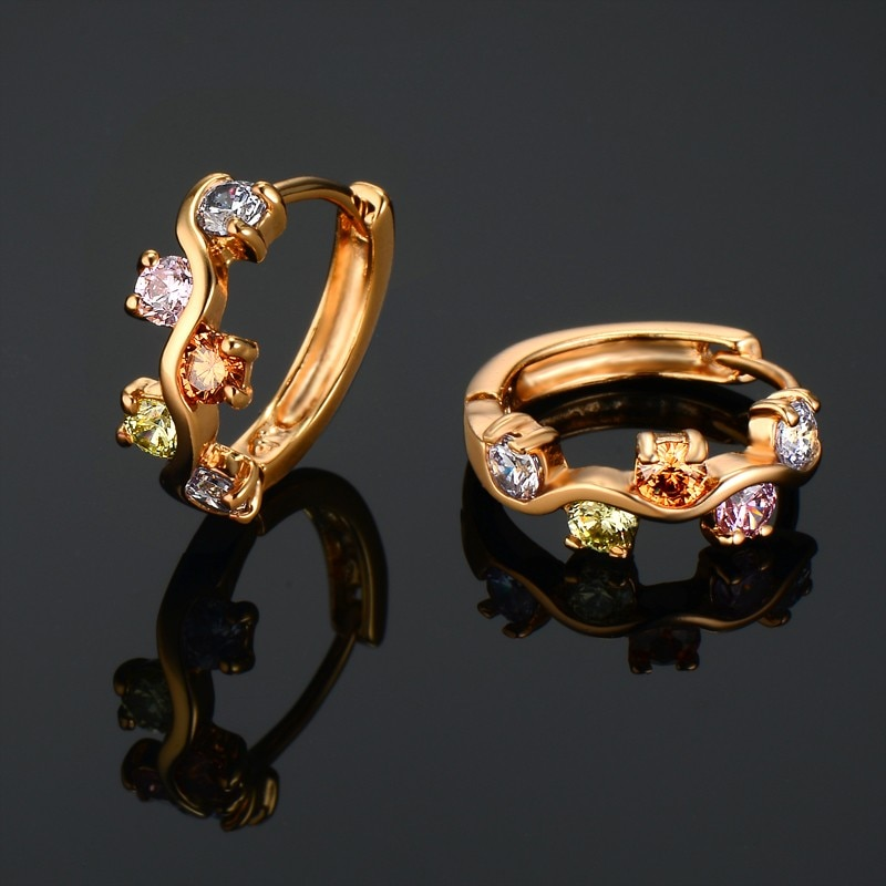 Nuevas llegadas de moda de las mujeres de la novia de la boda redonda colorida Rhinestone pendientes de cristal austriaco aro pendientes para las mujeres joyería