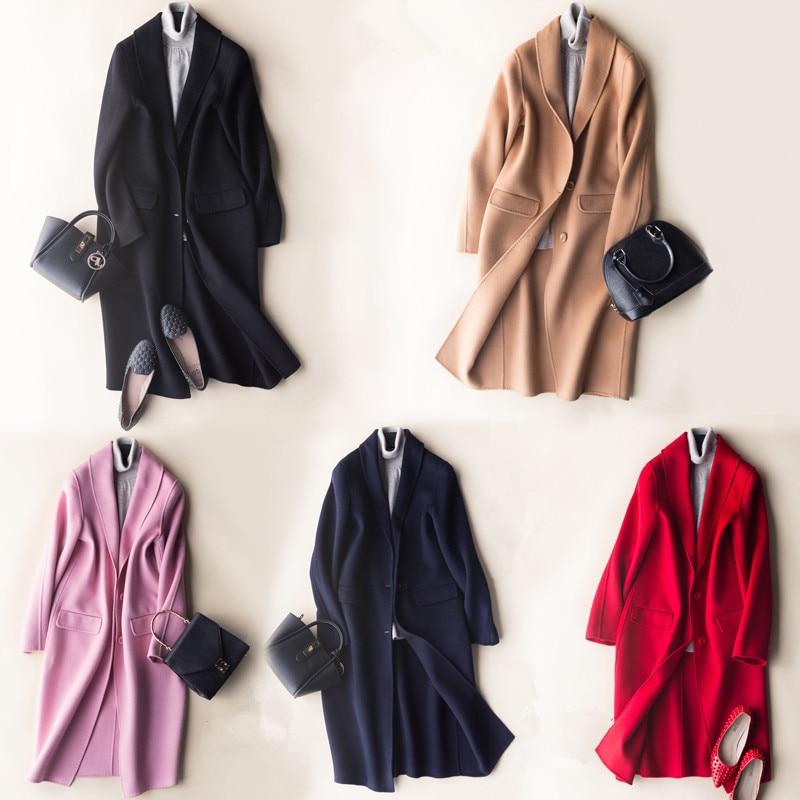 Inverno outono novo casaco de lã dupla face feminino médio cashmere jaqueta de lã casacos casacos cs1701 en s