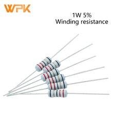 Fusible de bobinado de 1W, precisión de resistencia 5% 5.1R/6,8/10R/22/39R/68/100R/200 Ohm, 20 Uds.