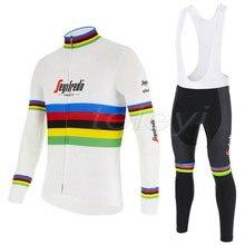 2020 Team z długim rękawem kolarstwo zestaw koszulek spodnie na szelkach Ropa Ciclismo odzież rowerowa MTB Bike Jersey jednolite męskie ubrania