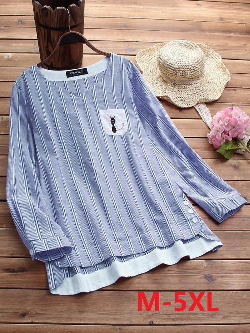 M-5XL Women Blouses Vertical Striped  Long Sleeve Cat Embroidery Irregular Hem Shirt Elegant O-Neck  Shirt Casual Loose OL Tops