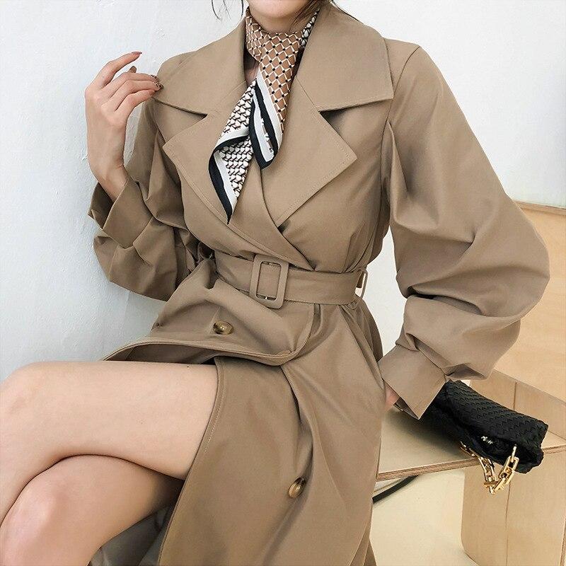 المرأة سترة واقية سترة مزاجه فضفاضة طويلة الأكمام حزام الموضة مزدوجة الصدر جيوب مزاجه الركاب معطف