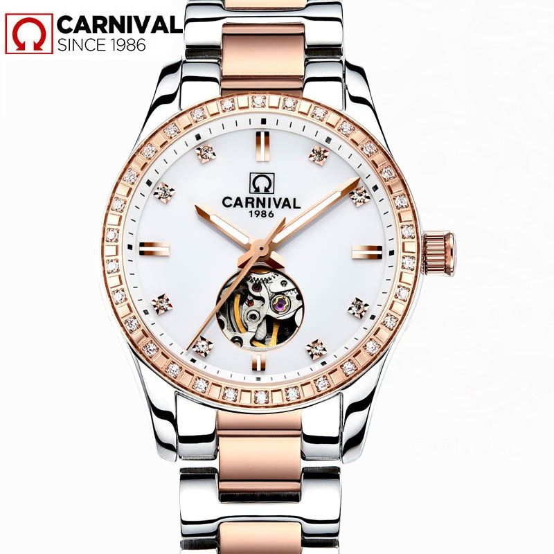 CARNIVAL New Casual Ladies Automatic Mechanical Watches Luminous Waterproof Stainless Steel Strap Diamond Dial Hollow Watch 8685