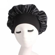 Newly Women's Satin Solid Sleeping Hat Night Sleep Cap Hair Care Bonnet Nightcap For Women Men Unise