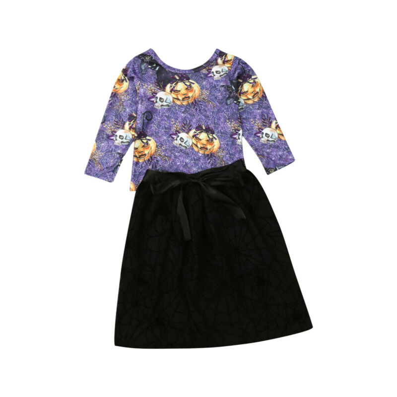 2PCS Toddler Kids Baby Girls Clothes Halloween Long Sleeve Pumpkin Tops+Black Skirt Autumn Outfits Set Cute Winter Suit