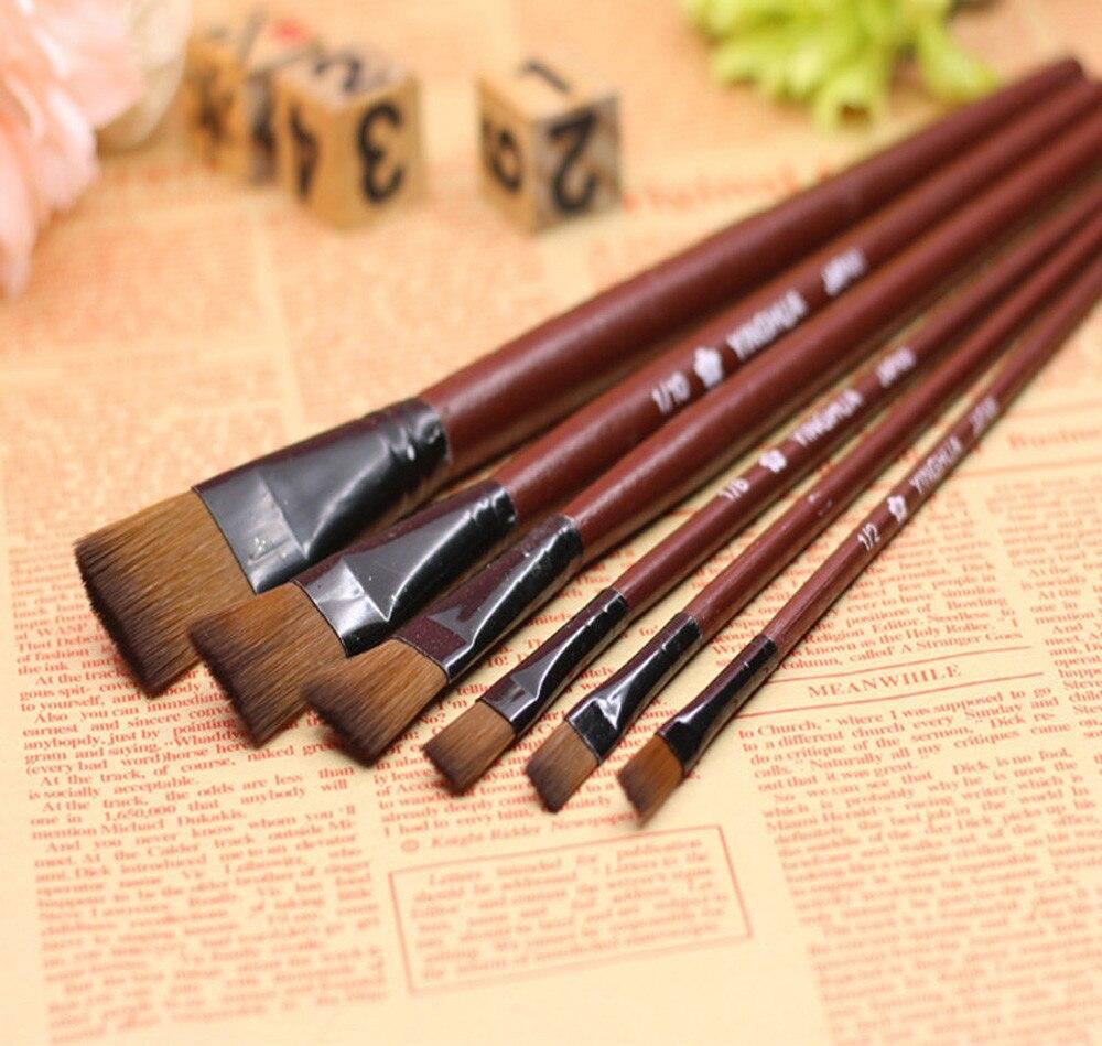 Pack Of 6 Art Brown Nylon Paint Brushes For Acrylic Paint Brushes For Watercolor Paint Brushe Paint Brushes For Acrylic Painting