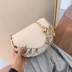 Solid color Pleated Small Saddle bag 2020 New High-quality PU Leather Women's Designer Handbag Chain Shoulder Messenger Bag