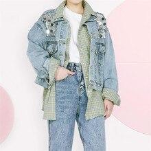 2020 autumn new short jacket loose washed cowboy beads sequinedstitching fashion college denim jac