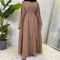 muslim fashion hijab long dresses women with sashes solid color islam clothing abaya african dresses for women musulman djellaba