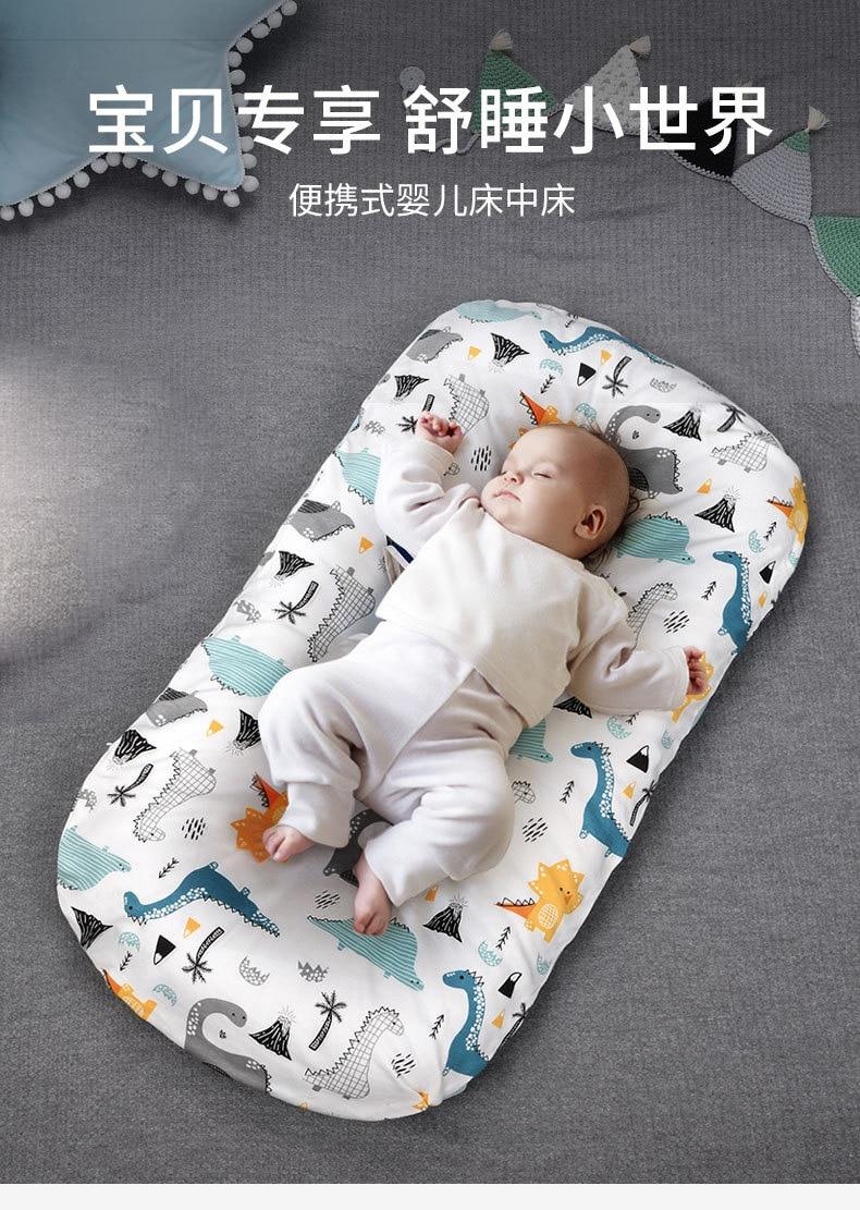 Детская кроватка для новорожденных, портативная съемная и моющаяся кроватка для новорожденных с имитацией давления, хлопковая кроватка дл...