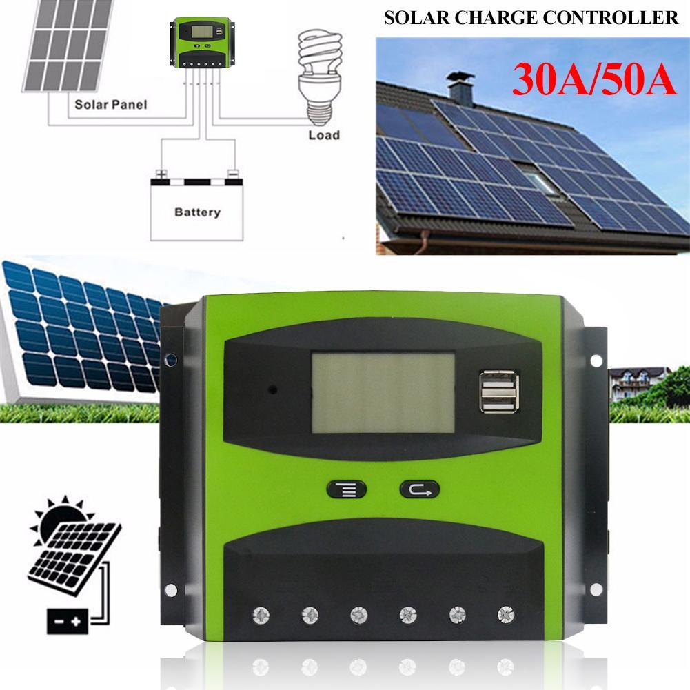 12/24 v 30/50a pwm controlador de carga solar temperatura pwm carregamento sobrecarga proteção lcd tela fora-grade sistema solar