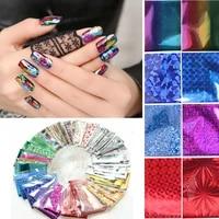 50pcs nail transfer foil mix style nail art transfer foil sticker holographic nail stickers fashion diy manicure decoration