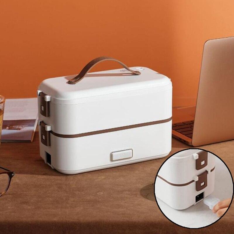 طبقة مزدوجة الغداء صندوق لحفظ الطعام المحمولة التدفئة الكهربائية العزل أواني الطعام الغذاء تخزين الحاويات بينتو علب الاغذية