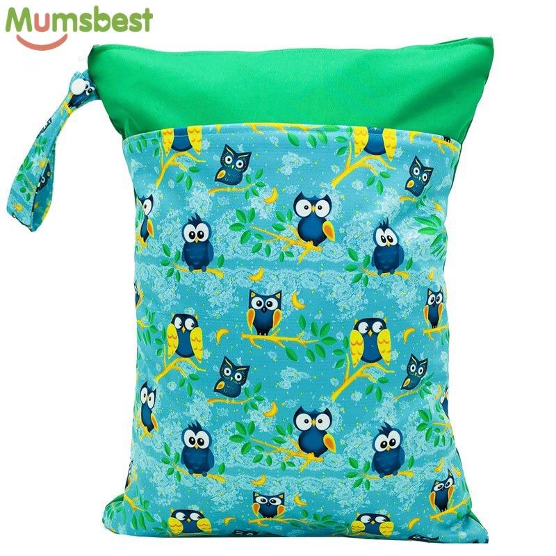 1 Pza reutilizable impermeable moda impresiones mojado seco pañal bolsa doble bolsillo tela ASA Wetbags 30*40CM al por mayor