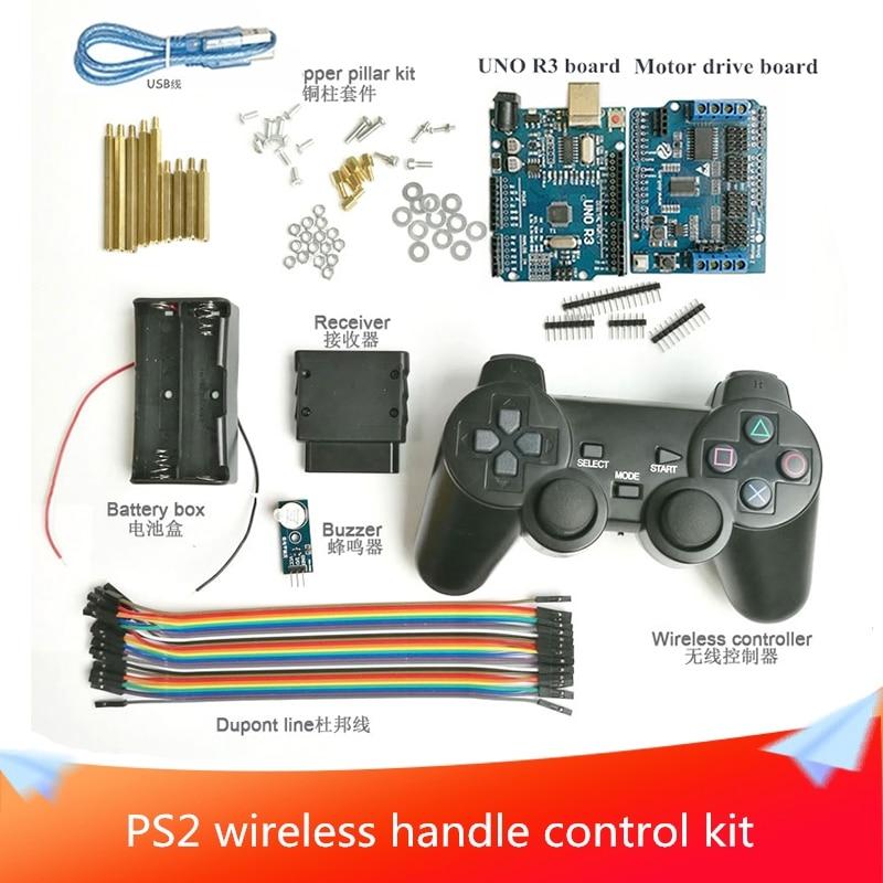 PS2 اللاسلكية مقبض مجموعة التحكم مع UNO R3 مجلس محرك لوحة ل روبوت الذكية خزان السيارة الهيكل DIY بها بنفسك RC تجنب عقبة