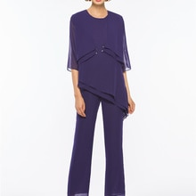 Sheath/Column Floor-Length Half Sleeves Loose 3 Pieces Mother of the Bride Pantsuits Chiffon With Ja
