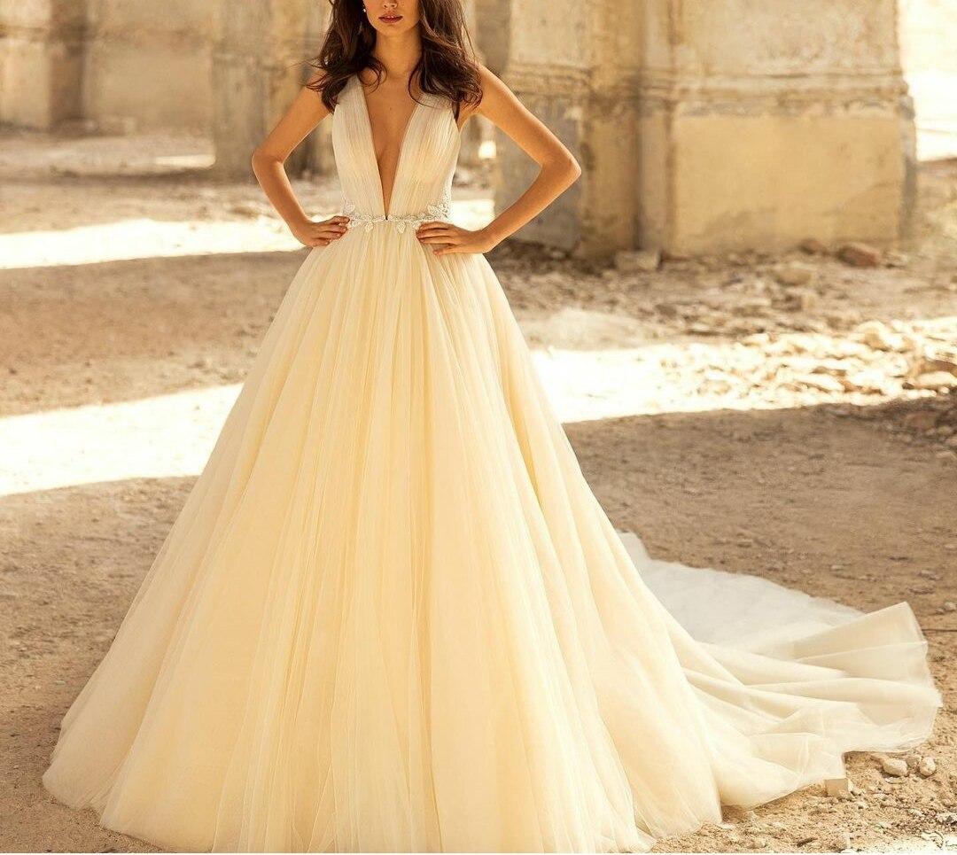 Get Sexy Long V-Neck Tulle Wedding Dresses A-Line Corset Back Ivory Beaded Brautkleider Robes de Soirée for Women