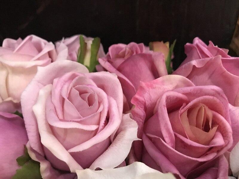 1 grupo de toque real rosa falso bouquet rosa alta qualidade festa decoração casamento rosa bud 9 cabeças