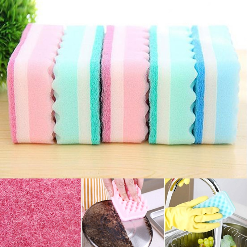 4Pcs Highly Efficient Scouring Pad Dish Cloth Sponge Cleaning Brush Decontamination Kitchen Rags Strong Dish Towels Household