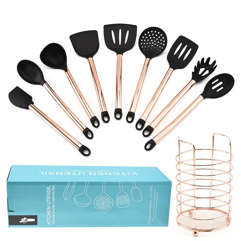 10PCS Silicone Kitchenware Non-stick Cookware Cooking Tool Spatula Ladle Shovel Spoon Soup Kitchen Utensils Set