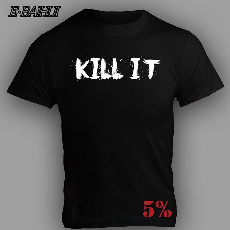 Camiseta de algodón ajustada de gimnasio para hombre de E-BAIHUI, camiseta Kill IT + Camiseta con estampado posterior 5%, camiseta de fútbol para hombre TS058