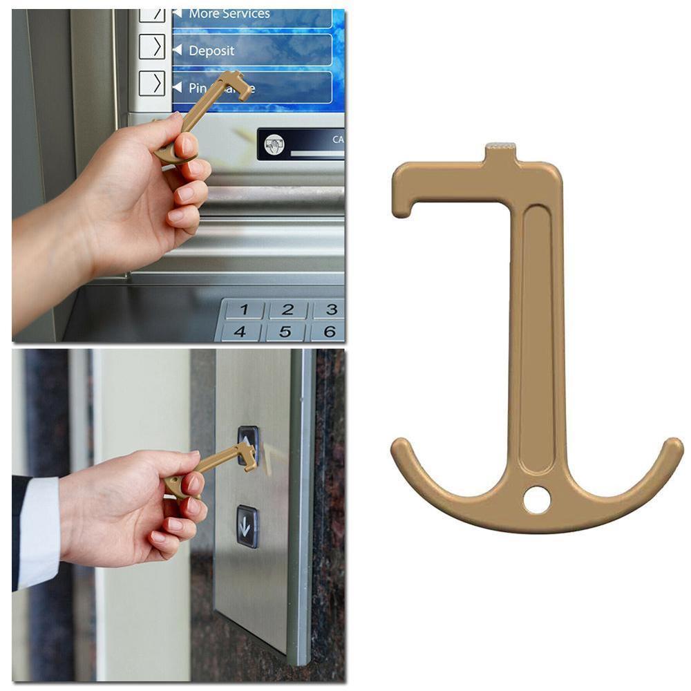 Famliy Health Press Elevator Tool Hygiene Hand Antimicrobial Handle EDC Door Opener Door Metal Door Opener Key Anti-bacteri W4R8
