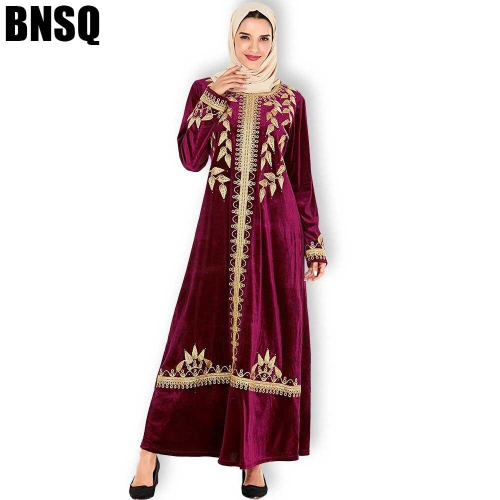 BNSQ, vestidos Maxi para mujer, terciopelo grueso, manga larga, bordado de Premium Gold, Abaya musulmán, Kaftan marroquí, Turquía, vestidos indios