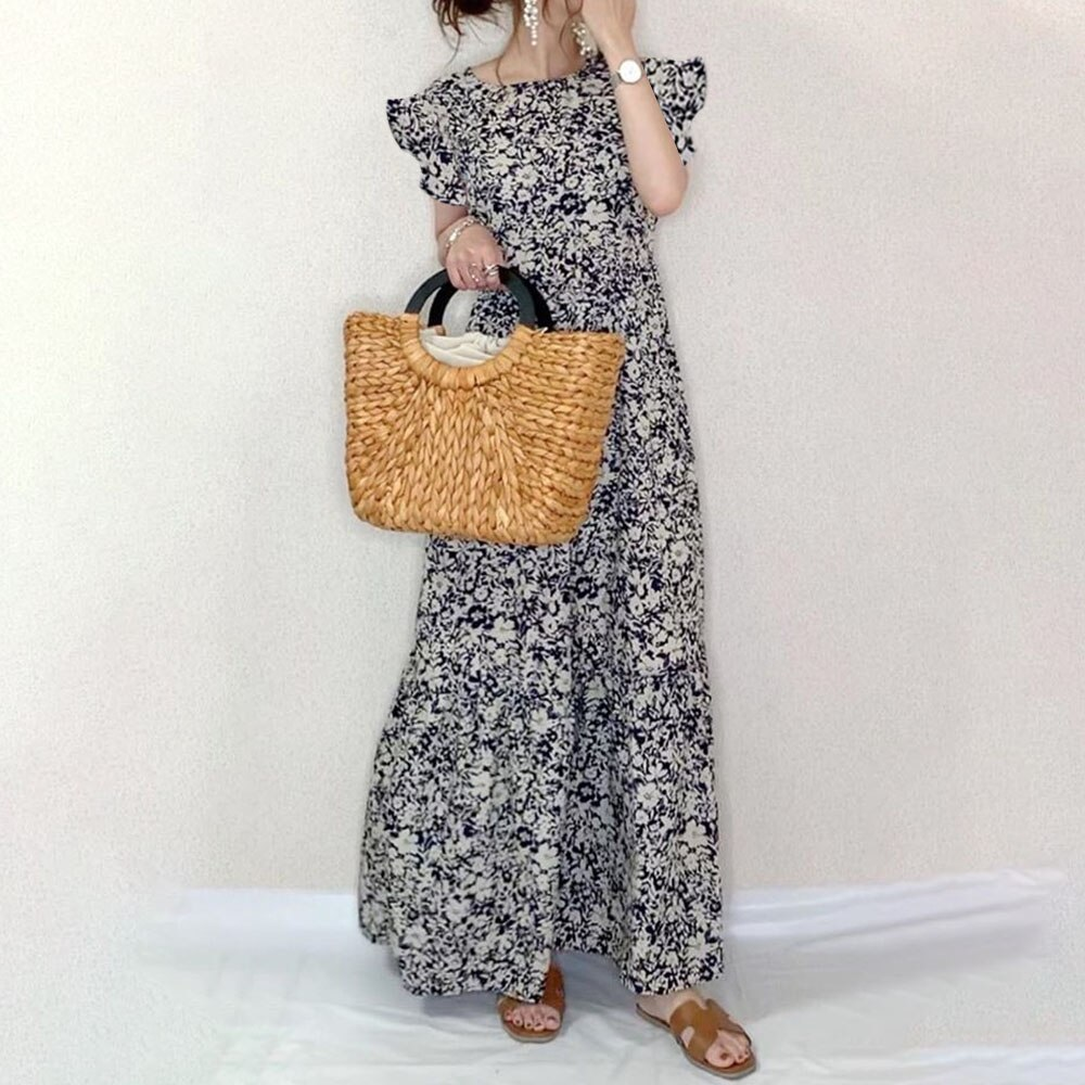 Maxi Dresses For Women Flower Print Summer Ruffle Sleeve Robe Femme Vestido 2021 Korea Falbala Summe