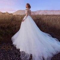 kapokdressy boho wedding dress 2021 lace appliques beach bride dresses illusion tulle long sleeve wedding gowns vestido de novia
