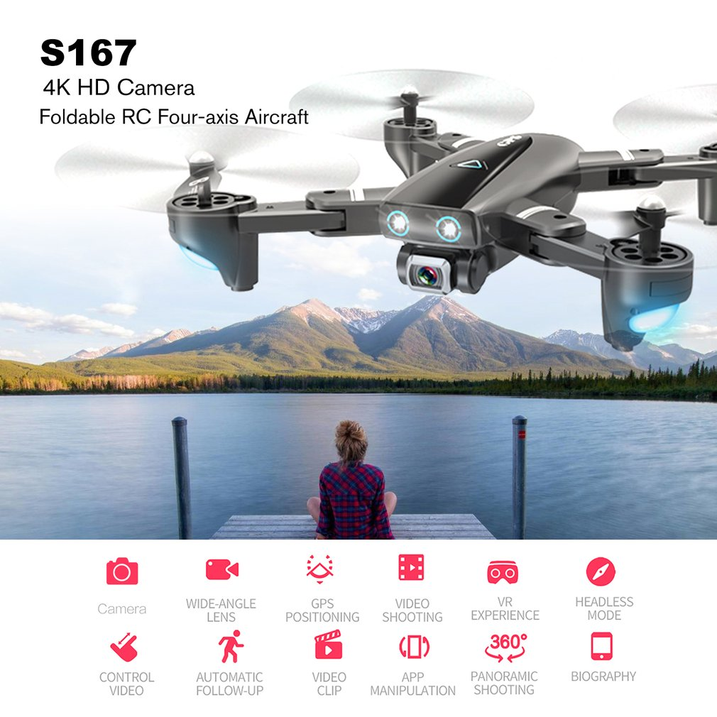 S167 GPS Drone Met Camera 5G RC Quadcopter Drone 4K WIFI FPV Opvouwbare Off-Punt Vliegende Gebaar fotos Video Helikopter Speelgoed