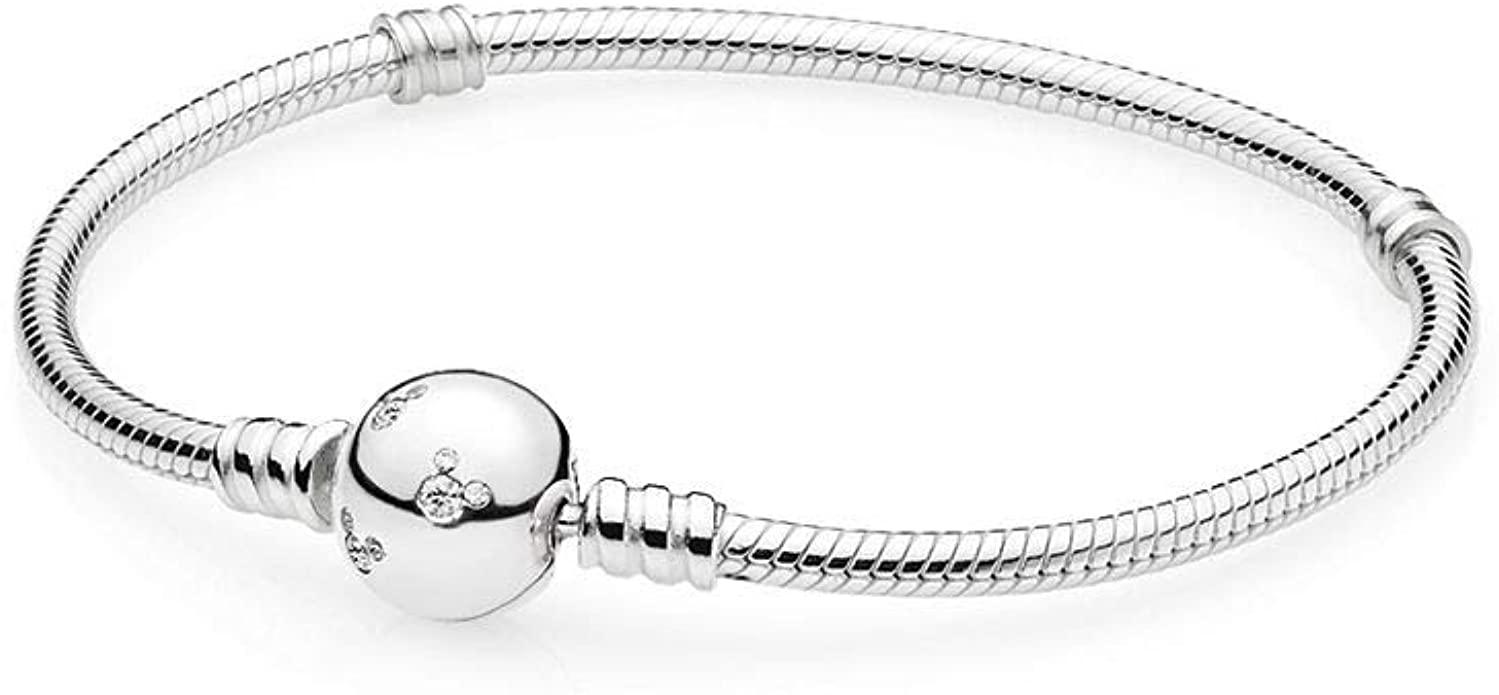 "Fit Pandora Original Charms Bracelet Disney Mickey Sterling Silver Bracelet with Cubic Zirconia 16-21cm Size 7.9"""