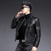 lhfff top quality genuine leather jacket motorcycle leather leather mens short sheep skin slim korean handsome youth jacket