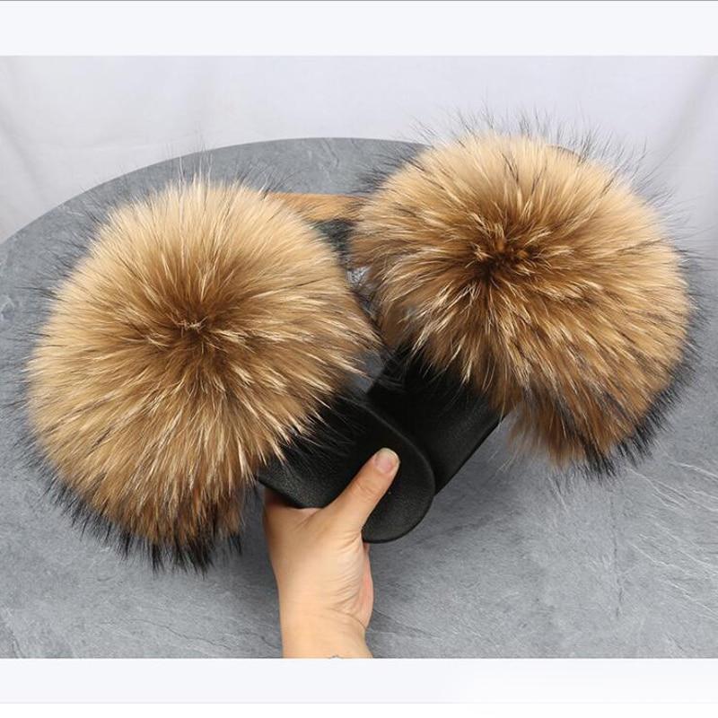 COOLSA Women Summer Fluffy Fur Slides Real Natural Raccoon Fur Slippers Flat Open Toe Big Fur Shoes
