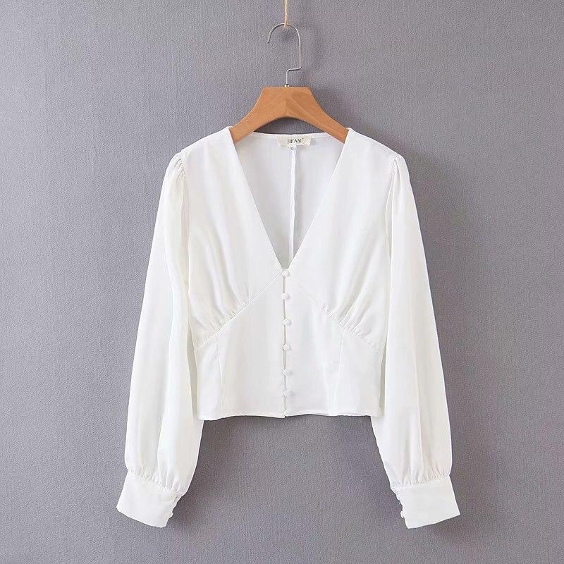 2019 mujeres elegante estilo francés deep v neck single hebillas blusa camisa mujeres manga larga blusas casual chemise tops LS4010