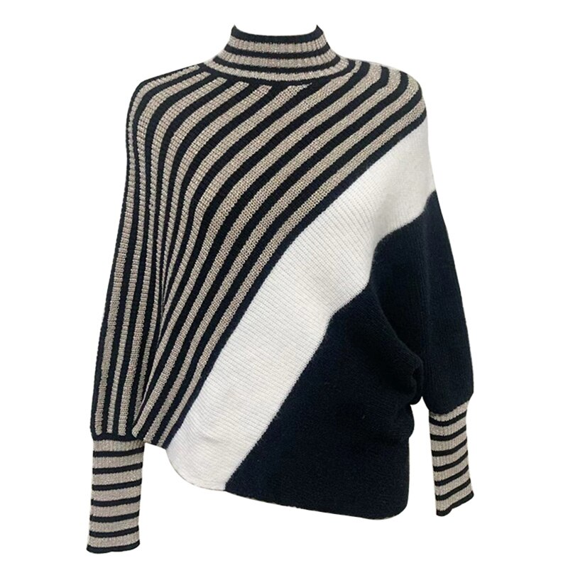 Womens Loose Fit Pullovers Sweater Batwing Sleeve Turtleneck Office Lady Contrast Color Sweater Knit Tops enlarge