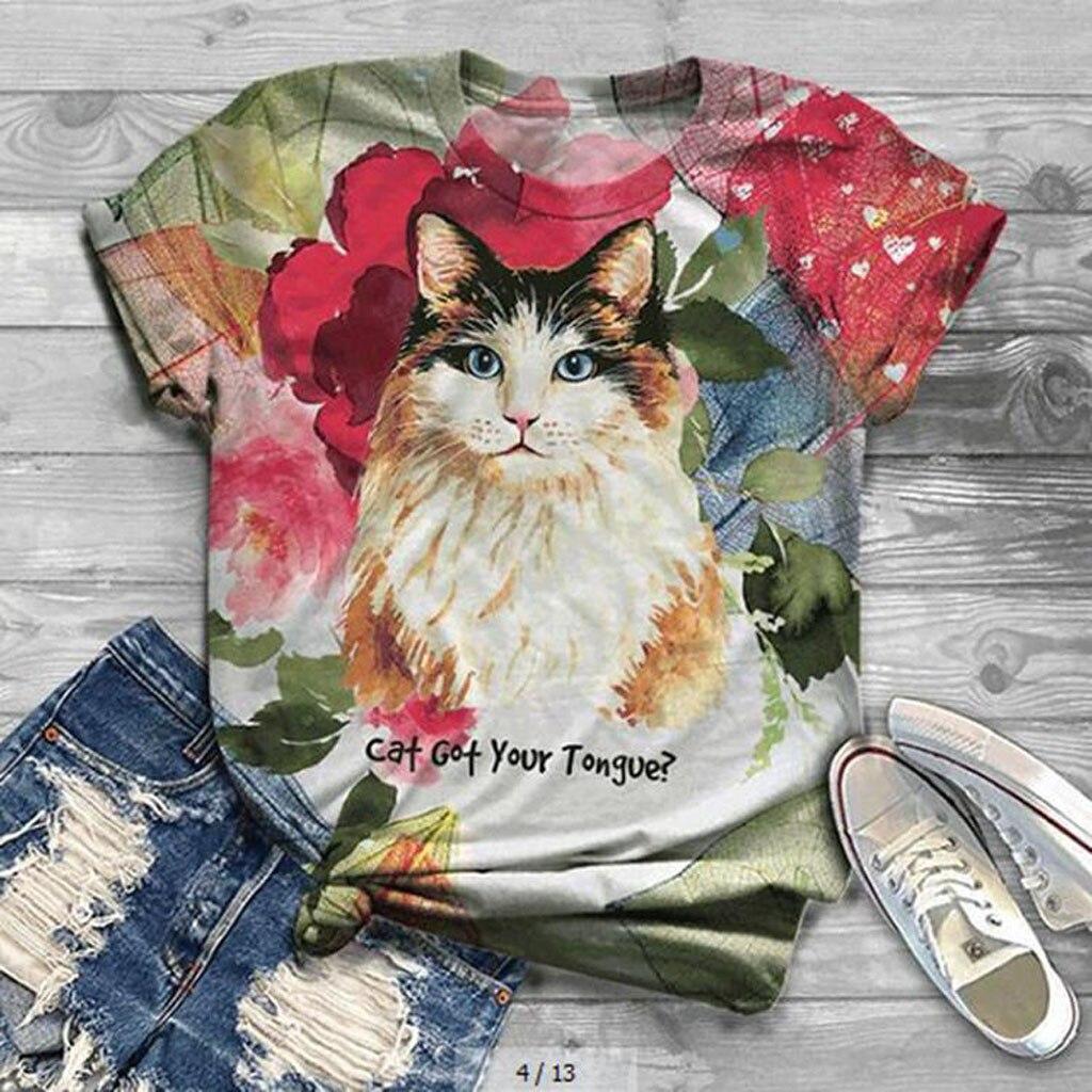 Camiseta estampada con gatos y gatitos en 3D para Mujer, Camisetas de verano con cuello redondo para Mujer, camiseta de talla grande de manga corta, Camisetas harajuku para Mujer, Camisetas para Mujer