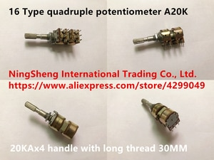 Original new 100% import 16 Type quadruple potentiometer A20K 20KAX4 handle with long thread 30MM (SWITCH)