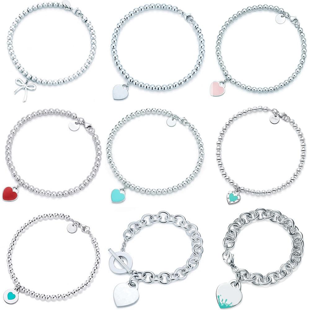 100% 925 Sterling Silver Original Tiff Heart Shaped Pendant Bracelet Jewelry Charm Brand Design For Women Logo Fine Jewelry Gift