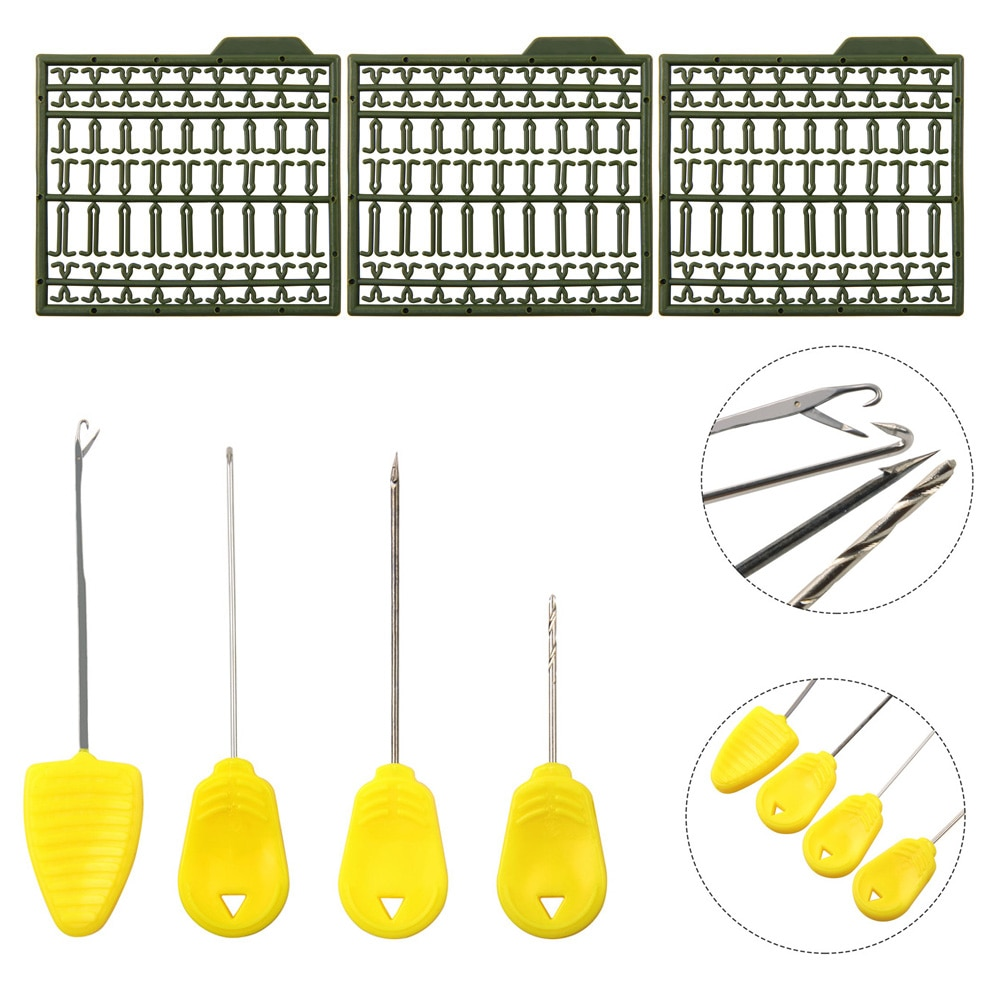 7 Uds., agujas para cebo de pesca de carpa, agujas de empalme, tijeras con tirador de nudo, boilies tijeras con pop up, tapón, herramientas para aparejos de pelo