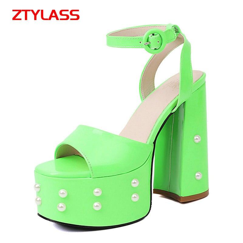 2021 Summer Open Toe Women Sandals Fashion Buckle Strap Super Square High Heel Shoes Platform Pearl