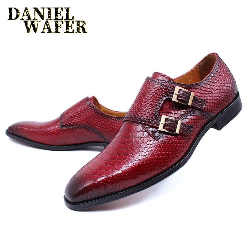 حذاء موكاسين جلد الثعبان للرجال ، حذاء كاجوال فاخر ، بدون أربطة ، مع مشبك معدني مزدوج ، للمكتب أو الزفاف