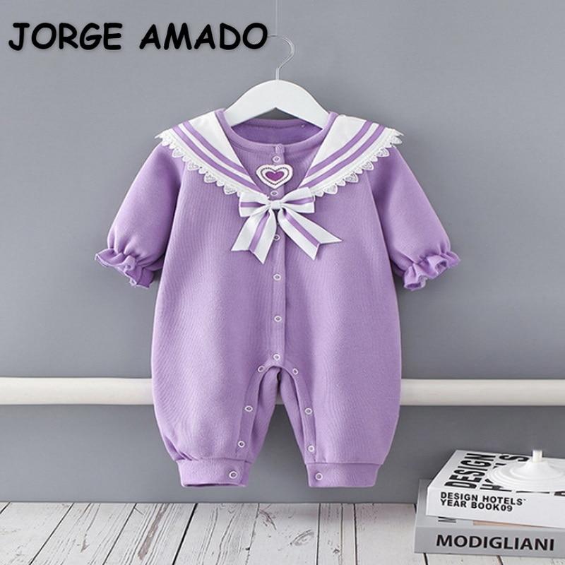 2022 New Spring Baby Girls Romper Purple Patchwork Long Sleeves Sailor Collar 100% Organic Cotton Ju