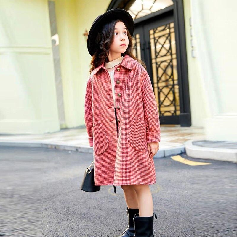 جاكت شتاء جديد للفتيات جاكت صوفي منقوش طويل جاكت للتدفئة من الصوف للفتيات من سن 4 إلى 12 سنة