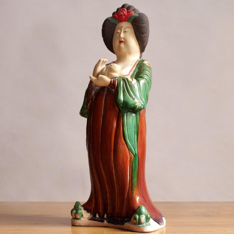 Estatua de cerámica de la dinastía TANG clásica china para chica regordeta, escultura bonita para mujer, decoración del hogar, Colección R3160