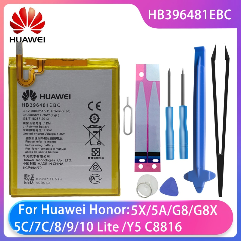 Original Huawei ASCEND G7 PLUS HONOR 5X Y6ii GR5 5A G8 G8X Maimang 4 Phone Battery HB396481EBC 3100mAh Free Tools Batteries enlarge