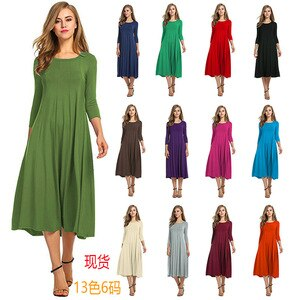 Round Neck Shirt with Half Sleeve Solid Color Wide Hem Dress